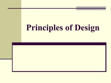 Principles of Design. Individuality Design is all about Individuality! No one will ever have the same design concept for one plan. Your own ideas and.