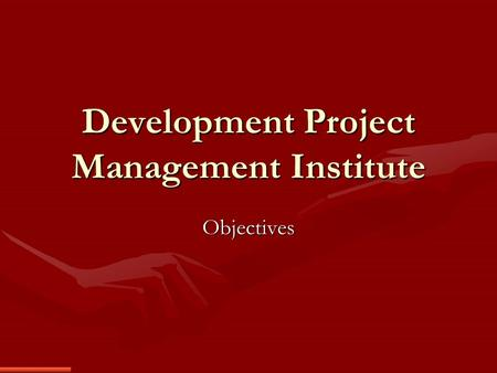 Development Project Management Institute Objectives.