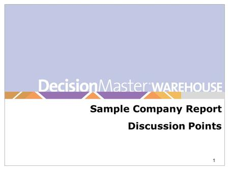 1 Sample Company Report Discussion Points. This page identifies the information of the clients current raw medical claims and explains how it is analyzed.