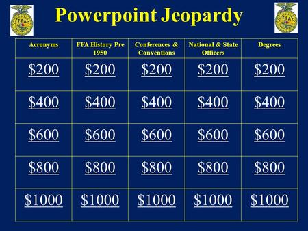 Powerpoint Jeopardy AcronymsFFA History Pre 1950 Conferences & Conventions National & State Officers Degrees $200 $400 $600 $800 $1000.