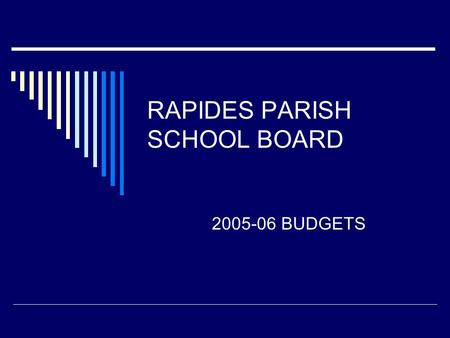 RAPIDES PARISH SCHOOL BOARD 2005-06 BUDGETS. ZBB Zero Based Budgeting Basically – start with nothing, justify everything Designed to break the lockstep.