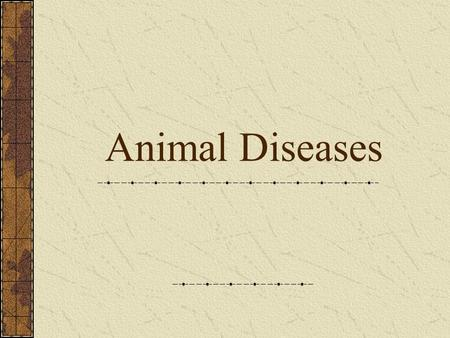 Animal Diseases. Disease Broad definition – not being at ease or uncomfortable Producers have a vested interest to keep their animals healthy.