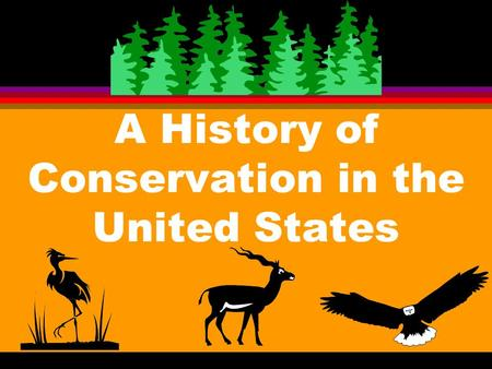 A History <strong>of</strong> <strong>Conservation</strong> in the United States Exploitation - Wasting l A. When people were few there was little need for <strong>conservation</strong> 1. Wise management.