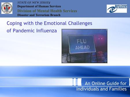 Coping with the Emotional Challenges of Pandemic Influenza An Online Guide for Individuals and Families.