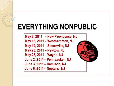 EVERYTHING NONPUBLIC 1 May 2, 2011 – New Providence, NJ May 18, 2011 – Westhampton, NJ May 19, 2011 – Somerville, NJ May 23, 2011 – Newton, NJ May 25,