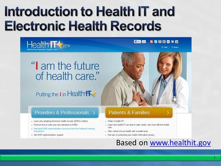 1 Based on www.healthit.govwww.healthit.gov. 2 Health Information Technology for Economic and Clinical Health (HITECH) Act 2009: Encouraging Use, Protecting.