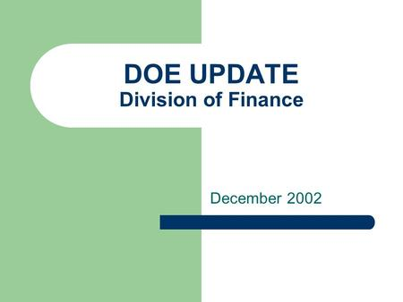 DOE UPDATE Division of Finance December 2002. DOE Update Hot Topics Capital Reserve Refresher Capital Projects Management Fiscal Policy Updates 03-04.