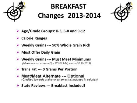 BREAKFAST Changes 2013-2014 Age/Grade Groups: K-5, 6-8 and 9-12 Calorie Ranges Weekly Grains --- 50% Whole Grain Rich Must Offer Daily Grain Weekly Grains.