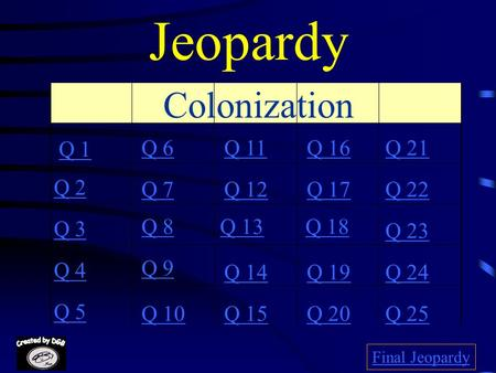 Jeopardy Colonization Q 1 Q 6 Q 11 Q 16 Q 21 Q 2 Q 7 Q 12 Q 17 Q 22