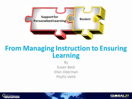 From Managing Instruction to Ensuring Learning By Susan Beck Ellen Oderman Phyllis Veith Student.