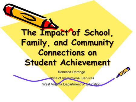 The Impact of School, Family, and Community Connections on Student Achievement Rebecca Derenge Office of Instructional Services West Virginia Department.