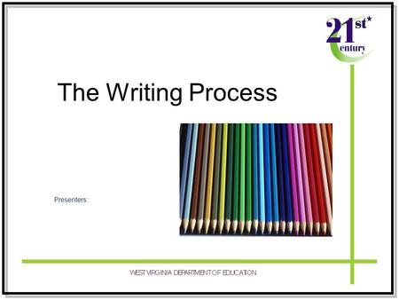 The Writing Process Presenters:. Participants will… KNOW –Five steps of the writing process –How to use the writing process for descriptive, narrative,