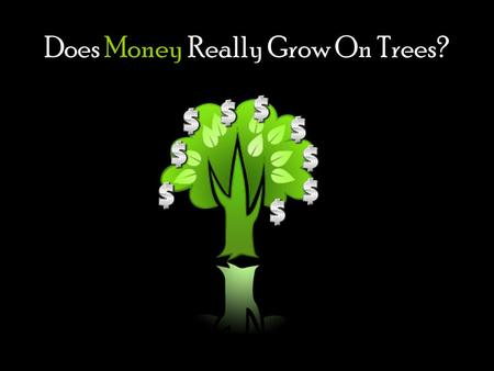 Does Money Really Grow On Trees?. We have all heard that question, and we know it isnt true.
