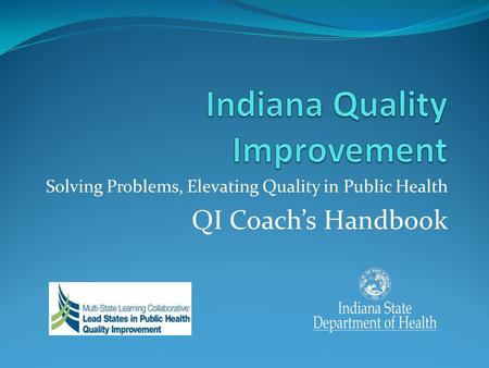 Solving Problems, Elevating Quality in Public Health QI Coachs Handbook.