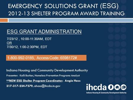 Emergency Solutions Grant (ESG)