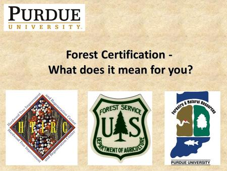Forest Certification - What does it mean for you?.
