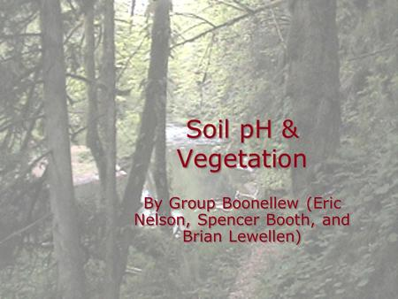 Soil pH & Vegetation By Group Boonellew (Eric Nelson, Spencer Booth, and Brian Lewellen)