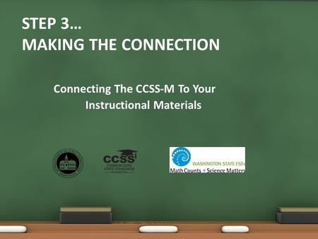STEP 3… MAKING THE CONNECTION Connecting The CCSS-M To Your Instructional Materials.