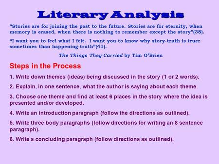 things they carried literary analysis essay Literary analysis essay of the things they carried things literary the essay of carried they analysis locator find a tree farm search by farm type.
