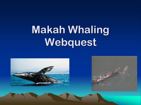 Makah Whaling Webquest. What would I do? What if my way of life was threatened? What if someone said my culture was wrong? Would I give up the way I am.