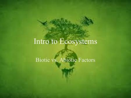 Intro to Ecosystems Biotic vs. Abiotic Factors. Definitions Ecosystem: A community interacting with the non-living parts of its environment. Biotic: Living.
