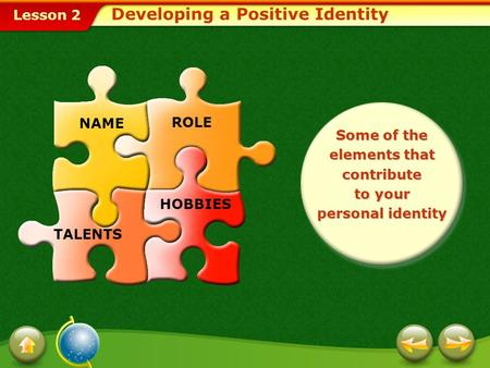 Lesson 2 Some of the elements that contribute to your personal identity NAME ROLE TALENTS HOBBIES Developing a Positive Identity.