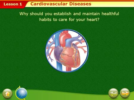 Lesson 1 Cardiovascular Diseases Why should you establish and maintain healthful habits to care for your heart?