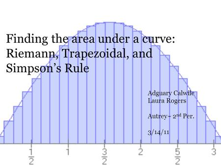 Finding the area under a curve: Riemann, Trapezoidal, and Simpsons Rule Adguary Calwile Laura Rogers Autrey~ 2 nd Per. 3/14/11.