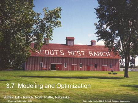 3.7 Modeling and Optimization Buffalo Bills Ranch, North Platte, Nebraska Greg Kelly, Hanford High School, Richland, WashingtonPhoto by Vickie Kelly, 1999.