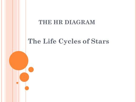 THE HR DIAGRAM The Life Cycles of Stars. HR-D IAGRAM - W HAT IS IT ? Stands for the Hertzsprung-Russell Diagram Graphs surface temperature (color) vs.