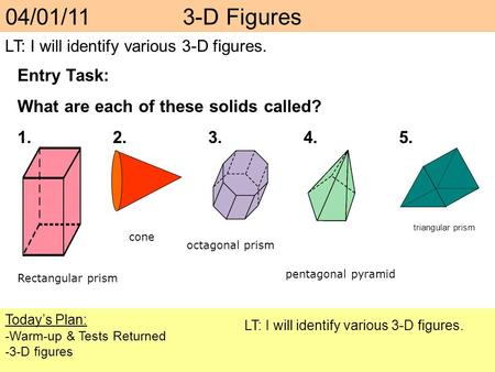 04/01/11 3-D Figures Entry Task: What are each of these solids called?