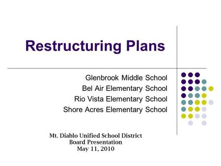 Restructuring Plans Glenbrook Middle School Bel Air Elementary School Rio Vista Elementary School Shore Acres Elementary School Mt. Diablo Unified School.