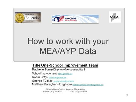1 How to work with your MEA/AYP Data Title One-School Improvement Team Rachelle Tome- Director of Accountability & School Improvement-