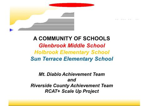 A COMMUNITY OF SCHOOLS Glenbrook Middle School Holbrook Elementary School Sun Terrace Elementary School Mt. Diablo Achievement Team and Riverside County.