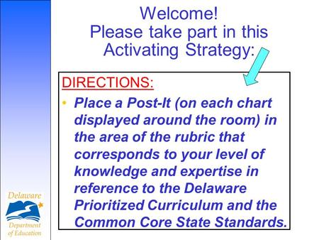 Welcome! Please take part in this Activating Strategy: DIRECTIONS: Place a Post-It (on each chart displayed around the room) in the area of the rubric.