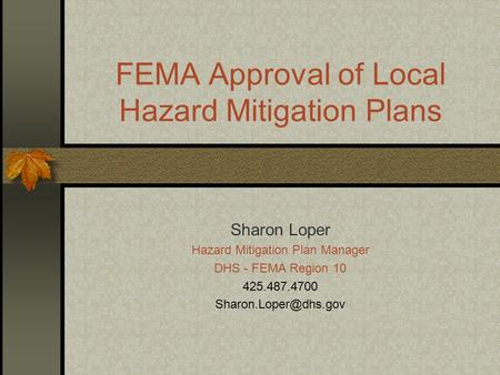 FEMA Approval of Local Hazard Mitigation Plans Sharon Loper Hazard Mitigation Plan Manager DHS - FEMA Region 10 425.487.4700