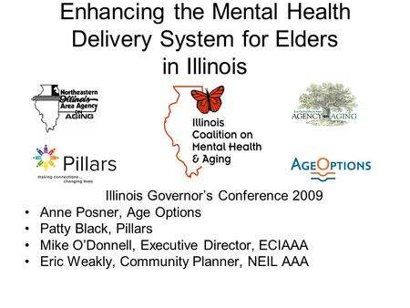 Enhancing the Mental Health Delivery System for Elders in Illinois Illinois Governors Conference 2009 Anne Posner, Age Options Patty Black, Pillars Mike.