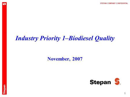 Industry Priority 1–Biodiesel Quality