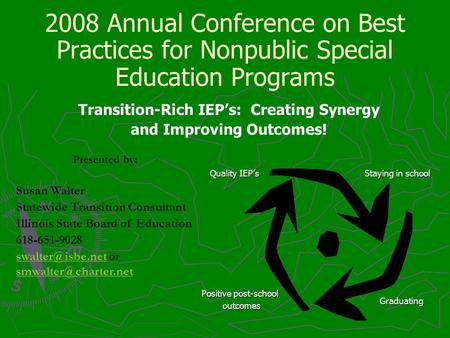 2008 Annual Conference on Best Practices for Nonpublic Special Education Programs Transition-Rich IEPs: Creating Synergy and Improving Outcomes! Presented.