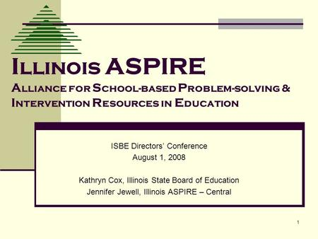 1 I llinois ASPIRE A lliance for S chool-based P roblem-solving & I ntervention R esources in E ducation ISBE Directors Conference August 1, 2008 Kathryn.