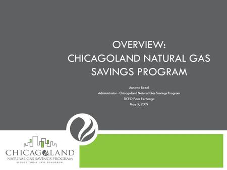 OVERVIEW: CHICAGOLAND NATURAL GAS SAVINGS PROGRAM Annette Beitel Administrator - Chicagoland Natural Gas Savings Program DCEO Peer Exchange May 5, 2009.