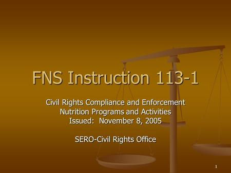1 FNS Instruction 113-1 Civil Rights Compliance and Enforcement Nutrition Programs and Activities Issued: November 8, 2005 SERO-Civil Rights Office.