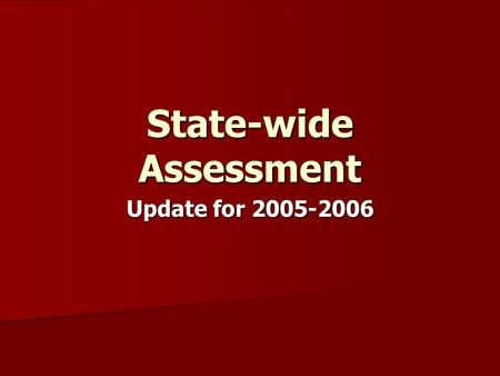 State-wide Assessment Update for 2005-2006. What Does TNs Alternate Assessment Program Look Like Now? Alternate Assessment General Assessment Alternate.