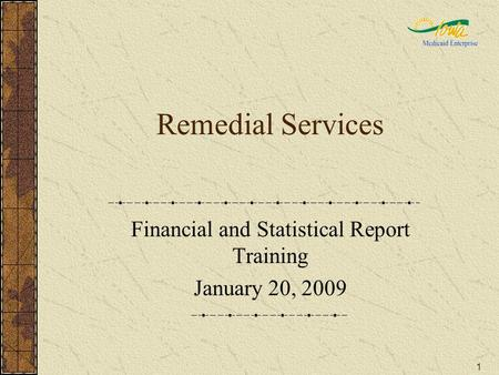 1 Remedial Services Financial and Statistical Report Training January 20, 2009.