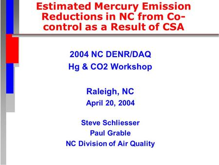 Estimated Mercury Emission Reductions in NC from Co- control as a Result of CSA 2004 NC DENR/DAQ Hg & CO2 Workshop Raleigh, NC April 20, 2004 Steve Schliesser.