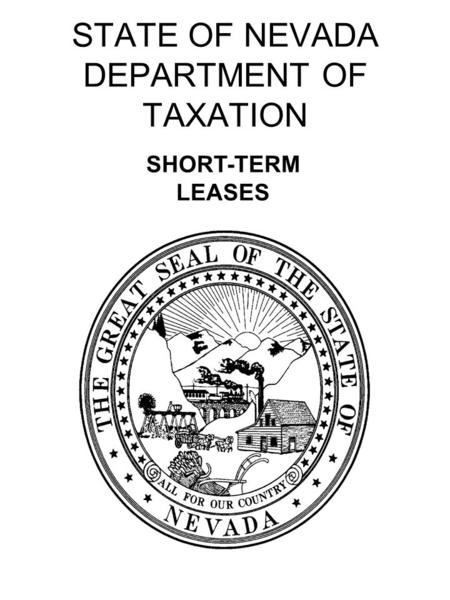 STATE OF NEVADA DEPARTMENT OF TAXATION SHORT-TERM LEASES.