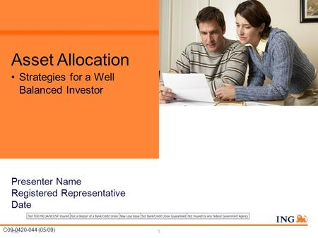 ING1 Asset Allocation Strategies for a Well Balanced Investor C09-0420-044 (05/09) Presenter Name Registered Representative Date.