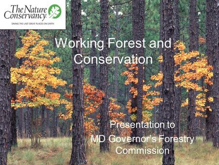Working Forest and Conservation Presentation to MD Governors Forestry Commission.
