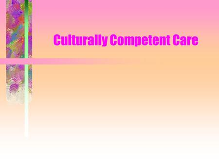 Culturally Competent Care. CULTURAL COMPETENCIES Involve understanding & respecting the patients cultural values, beliefs & practices Consider: –views.