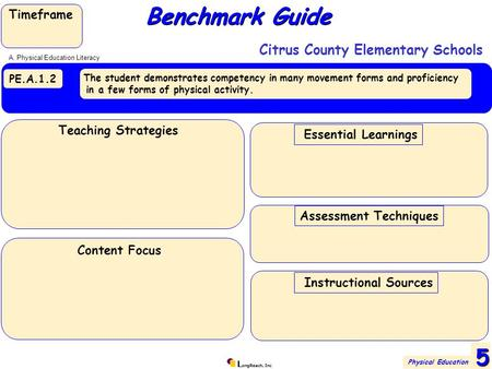 L ongReach, Inc PE.A.1.2 The student demonstrates competency in many movement forms and proficiency in a few forms of physical activity. Benchmark Guide.